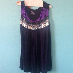 Lane Bryant purple dressy tank with sequins